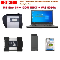 Super 3 in 1 MB SD Connect C4 & BMW ICOM NEXT & VAS 5054A With Lenovo T430 Laptop and 1TB HDD/SSD installed Mercedes BMW Audi VW #ODIS Software Ready to Use