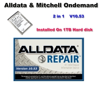 Alldata 10.53 Repair External Hard Drive V10.53 Alldata And Mitchell Ondemand 2 in 1 Installed On 1TB Hard disk