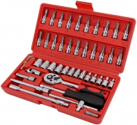 46Pcs Socket Wrench Set 1/4″ Drive Ratchet Metric Kit Garage Car Repair Tools