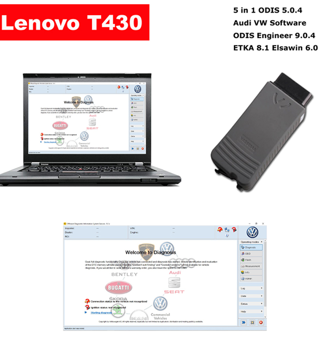 VAS 5054a Audi VW ODIS Interface With Lenovo T430 Laptop